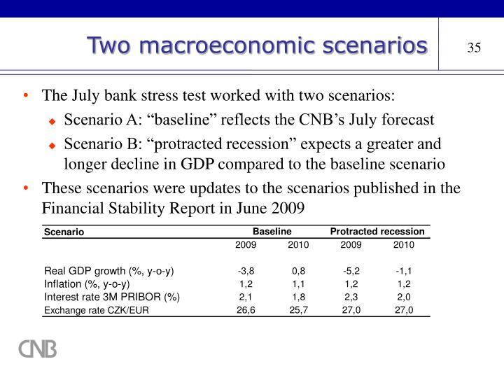 Two macroeconomic scenarios