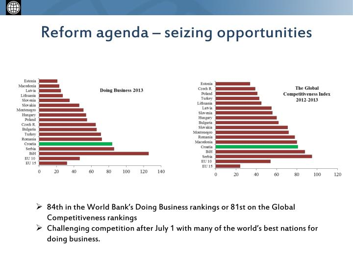 Reform agenda – seizing opportunities