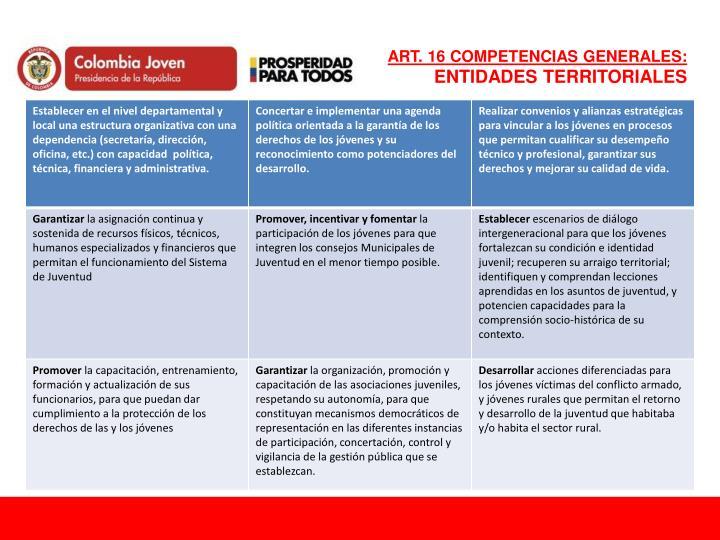 ART. 16 COMPETENCIAS GENERALES: