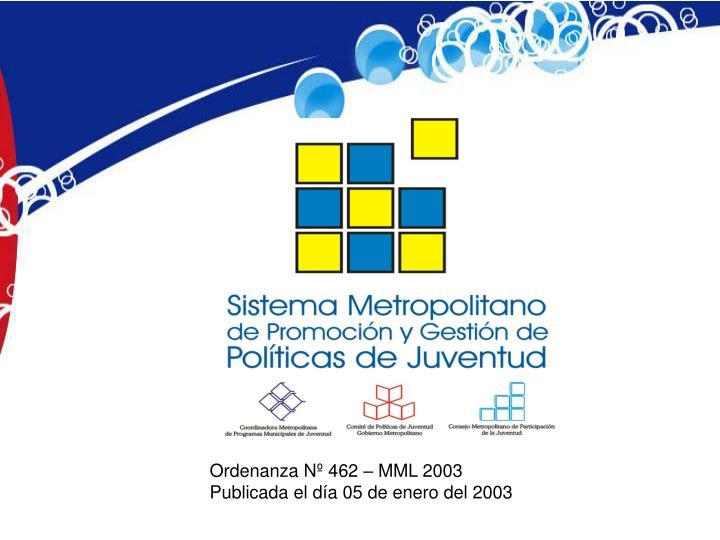 Ordenanza Nº 462 – MML 2003