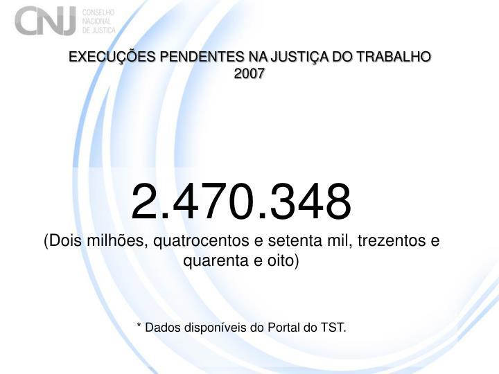 EXECUÇÕES PENDENTES NA JUSTIÇA DO TRABALHO