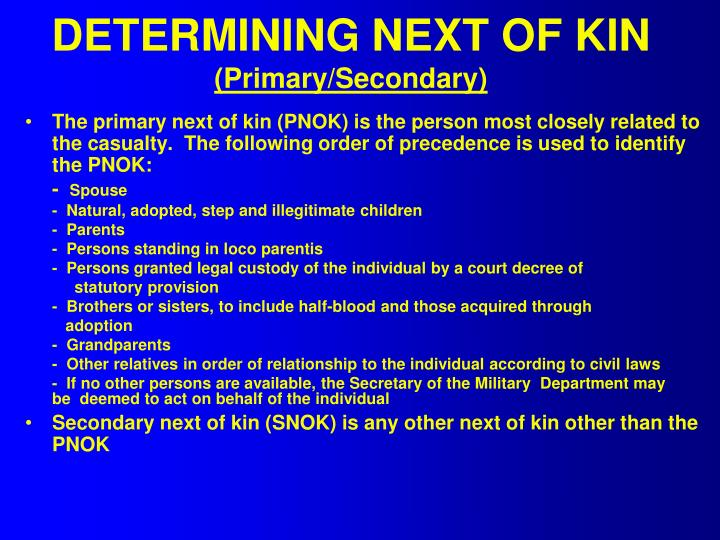 DETERMINING NEXT OF KIN