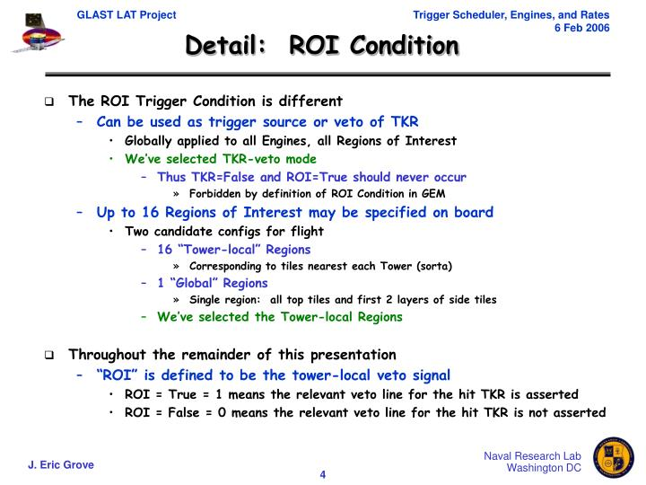 Detail:  ROI Condition