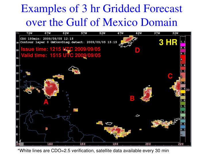 Examples of 3 hr Gridded Forecast over the Gulf of Mexico Domain
