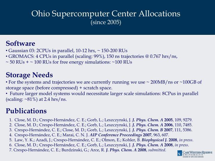 Ohio Supercomputer Center Allocations
