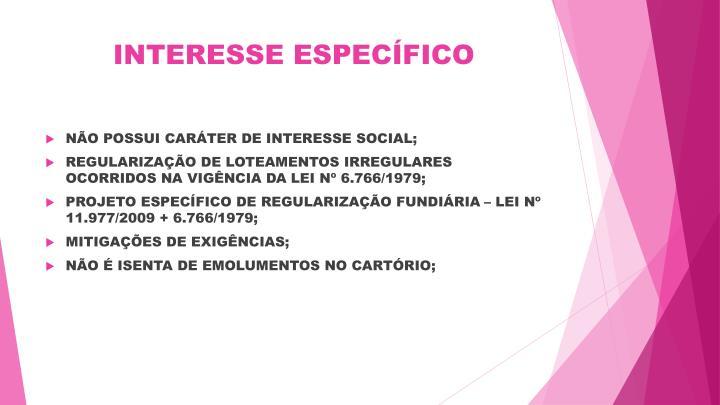 INTERESSE ESPECÍFICO