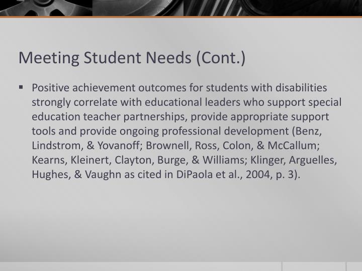 Meeting Student Needs (Cont.)