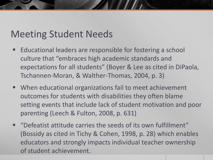 Meeting Student Needs