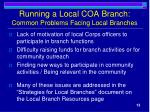 running a local coa branch common problems facing local branches