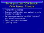 running a local coa branch other issues financial