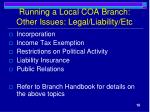 running a local coa branch other issues legal liability etc