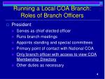 running a local coa branch roles of branch officers