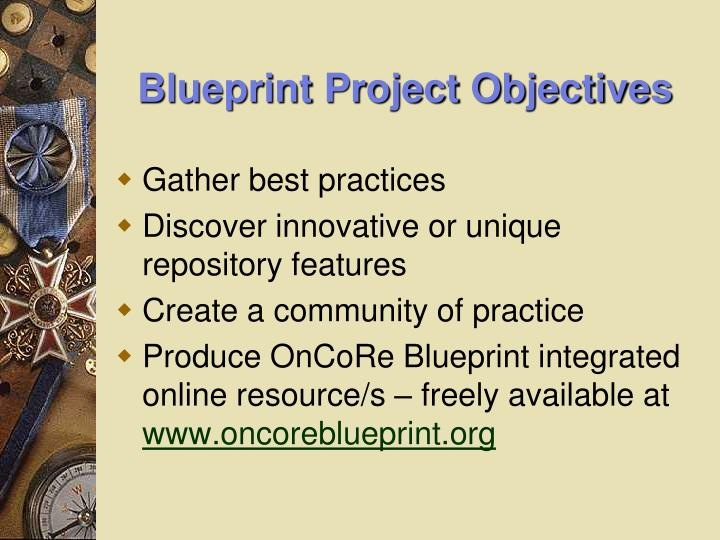 Blueprint Project Objectives