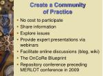 create a community of practice