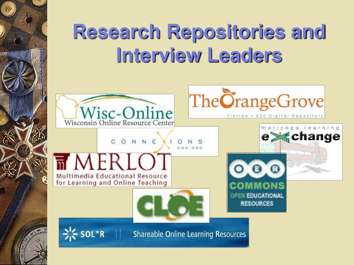 Research Repositories and Interview Leaders
