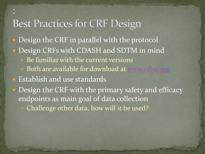 Best practices for crf design