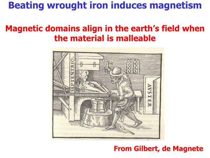Beating wrought iron induces magnetism
