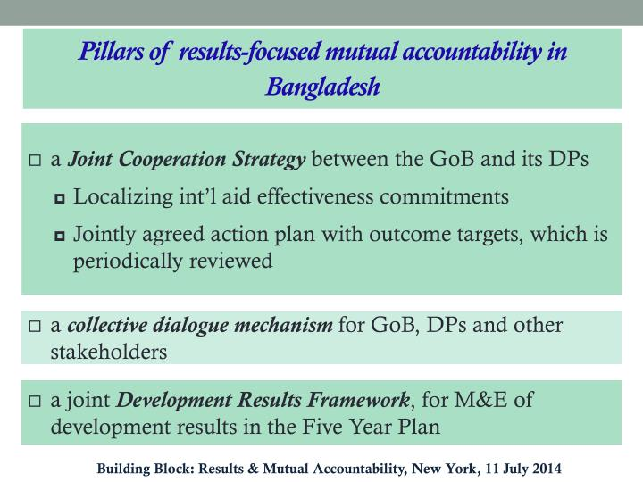 Pillars of results-focused mutual accountability in Bangladesh
