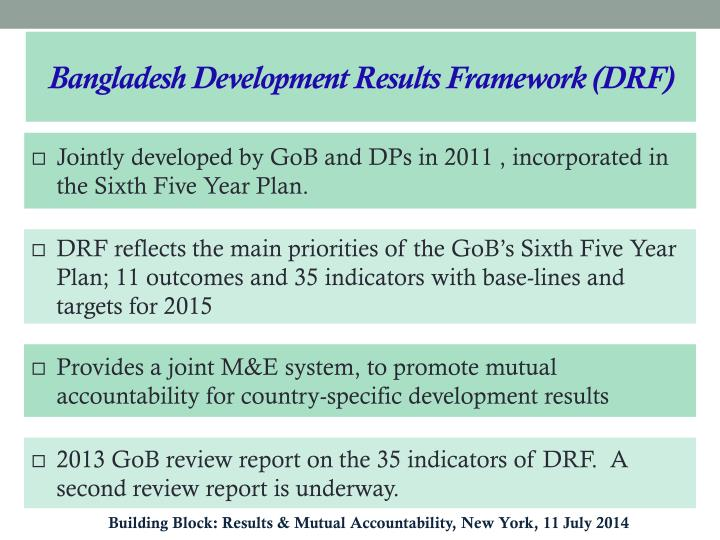 Bangladesh Development Results Framework (DRF)
