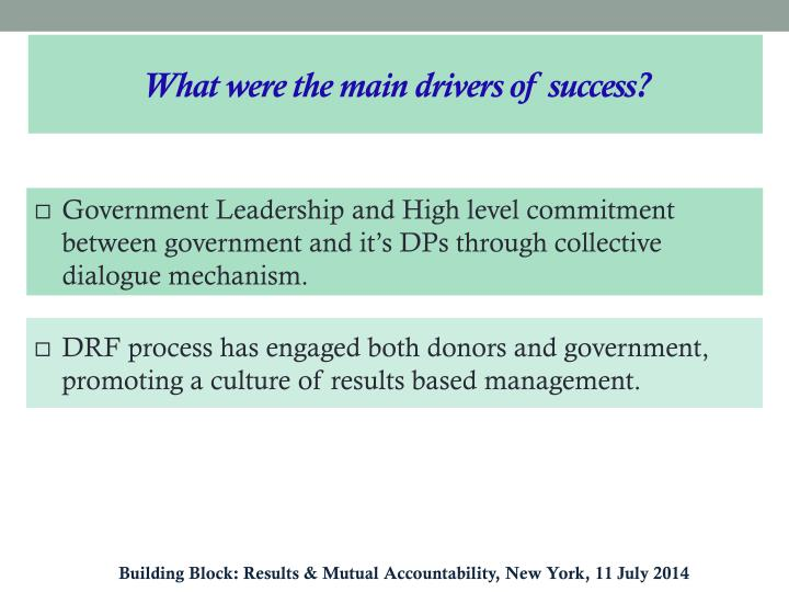 What were the main drivers of success?