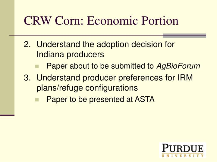 CRW Corn: Economic Portion