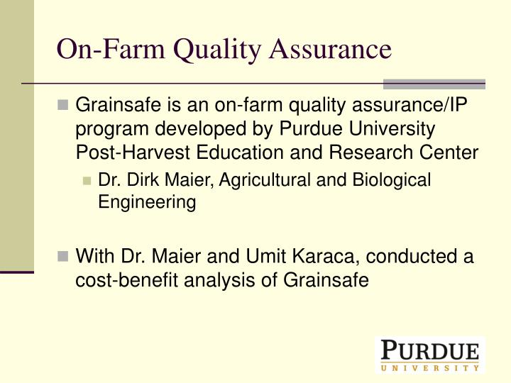 On-Farm Quality Assurance