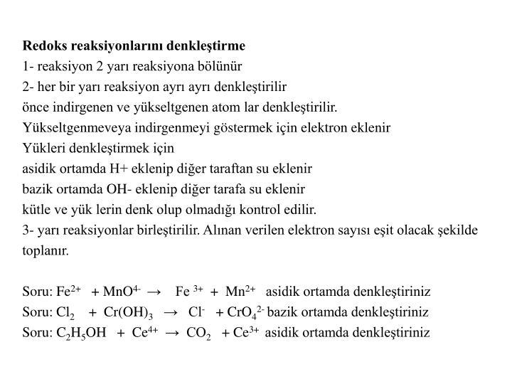 Redoks reaksiyonlarını denkleştirme