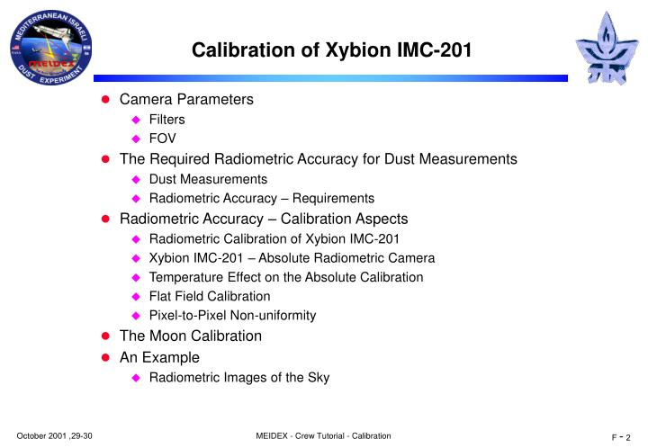 Calibration of xybion imc 201