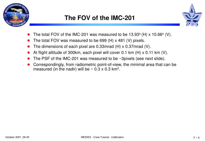 The FOV of the IMC-201