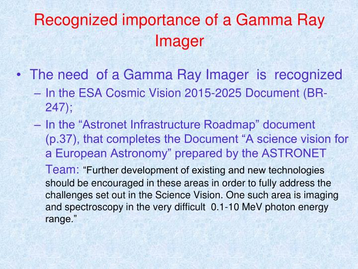 Recognized importance of a Gamma Ray Imager