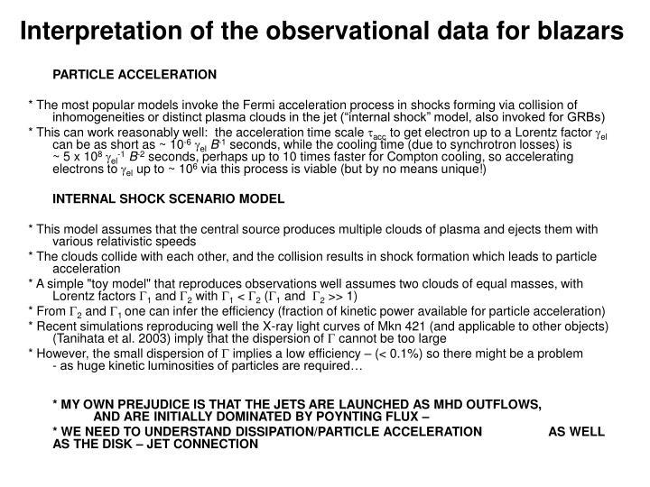 Interpretation of the observational data for blazars