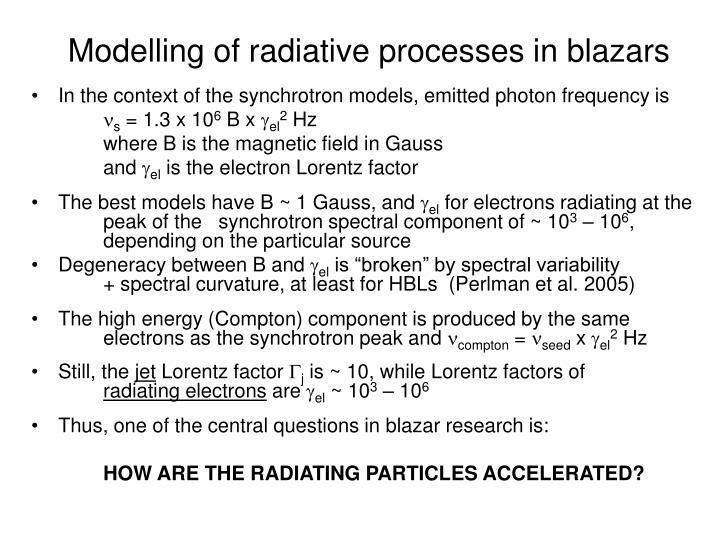 Modelling of radiative processes in blazars