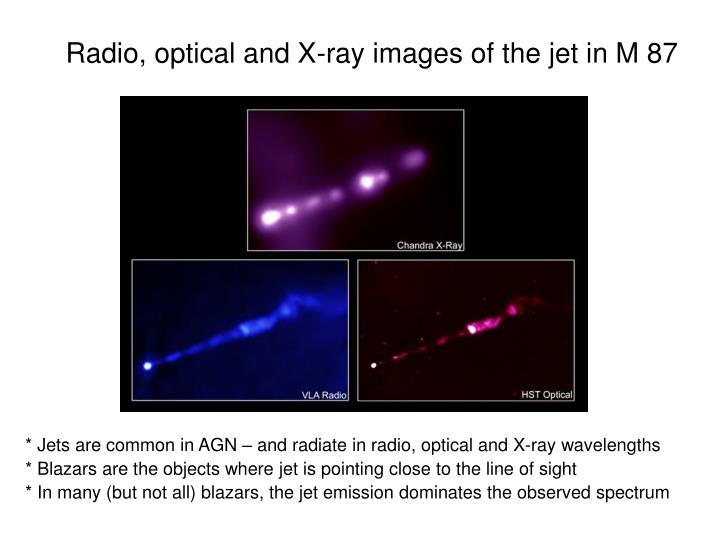Radio, optical and X-ray images of the jet in M 87