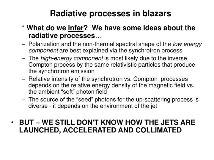 Radiative processes in blazars