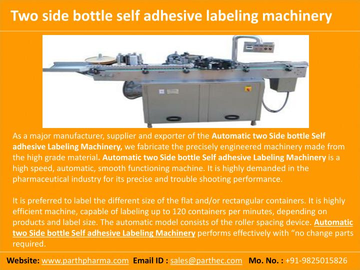 Two side bottle self adhesive labeling machinery