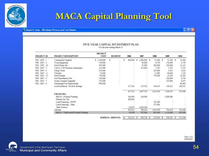 MACA Capital Planning Tool