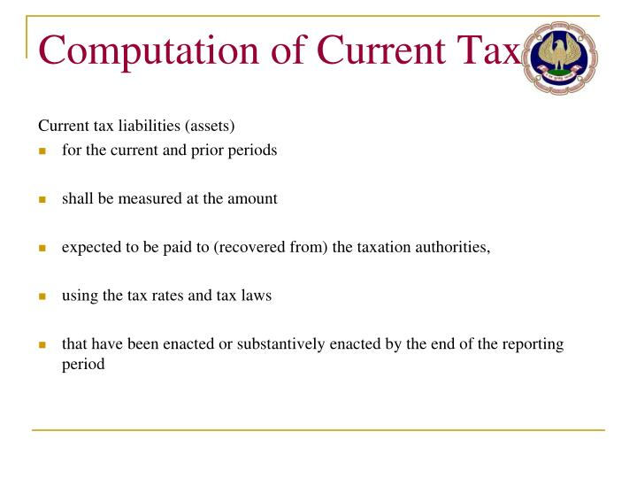Computation of Current Tax