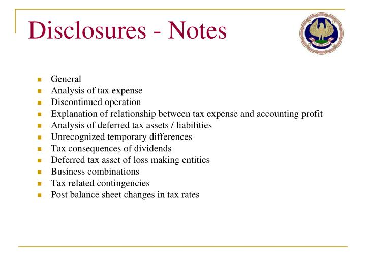 Disclosures - Notes