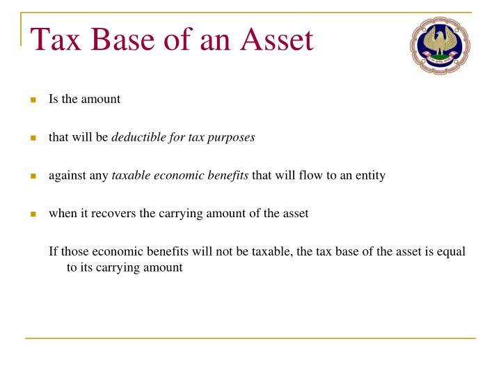 Tax Base of an Asset