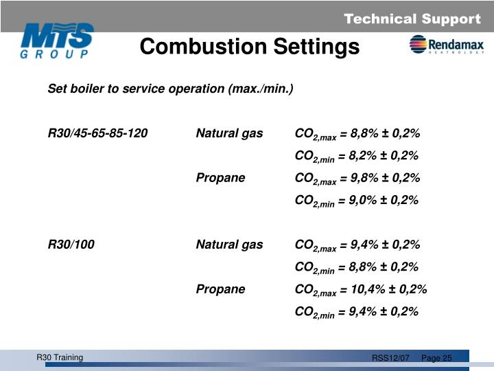 Combustion Settings