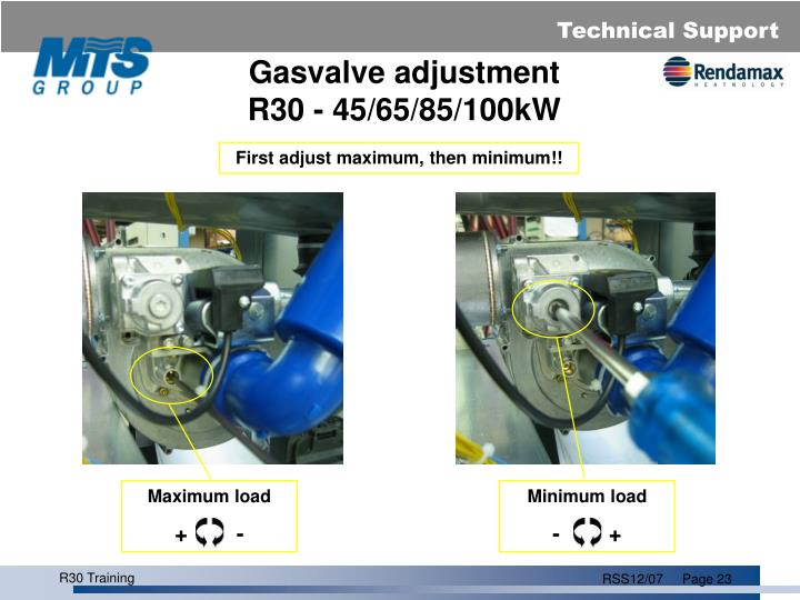 Gasvalve adjustment