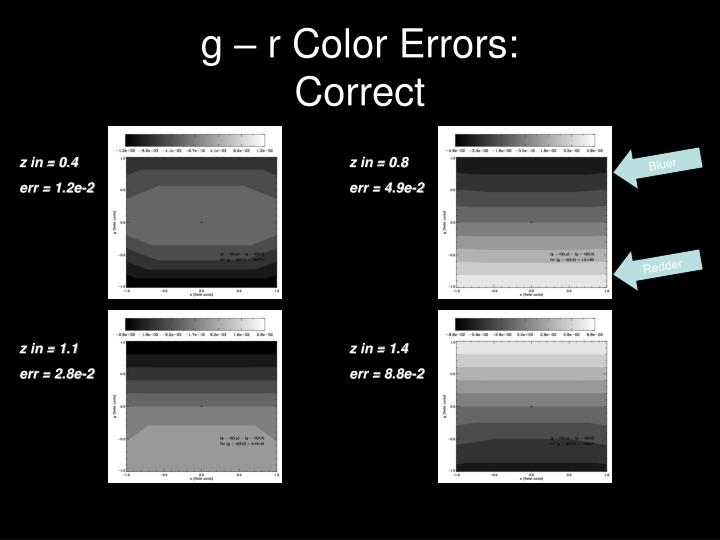g – r Color Errors: