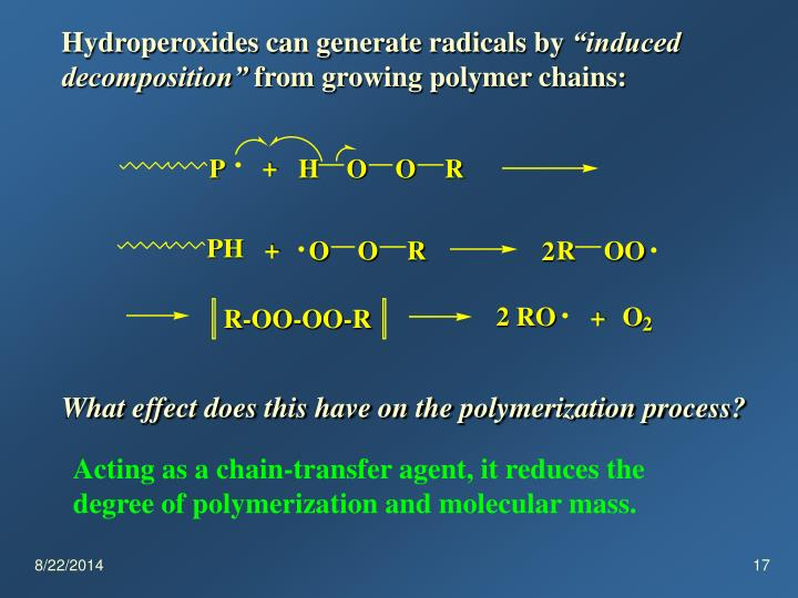 Hydroperoxides can generate radicals by