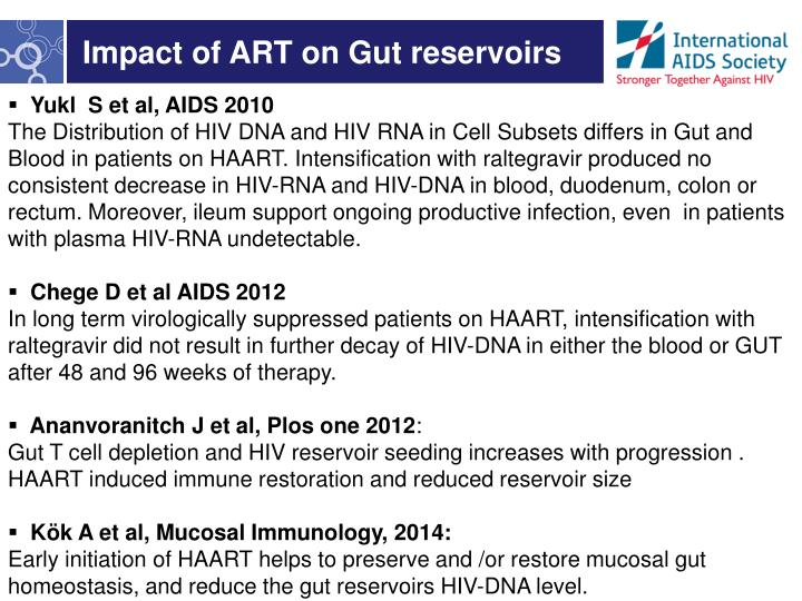 Impact of ART on Gut reservoirs