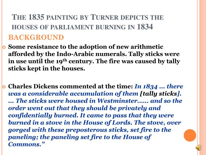 The 1835 painting by Turner depicts the houses of parliament burning in 1834