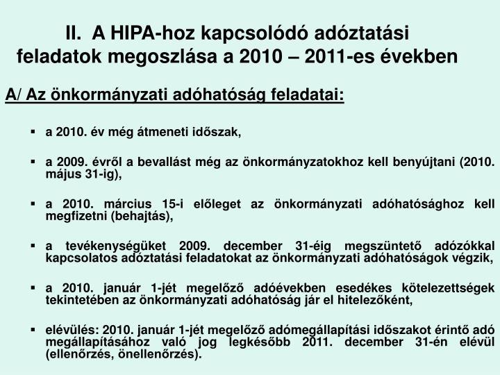 II.  A HIPA-hoz kapcsolódó adóztatási