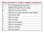 meta characters inside a regular expression