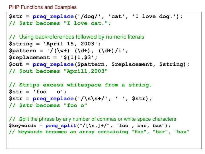 PHP Functions and Examples
