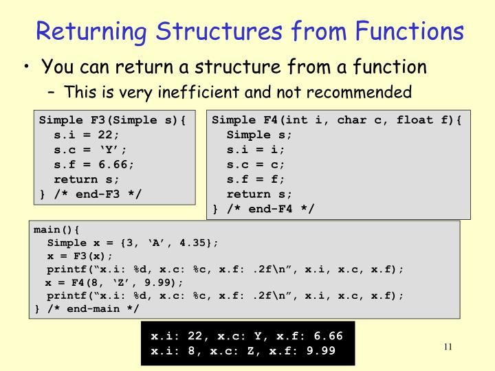 Returning Structures from Functions