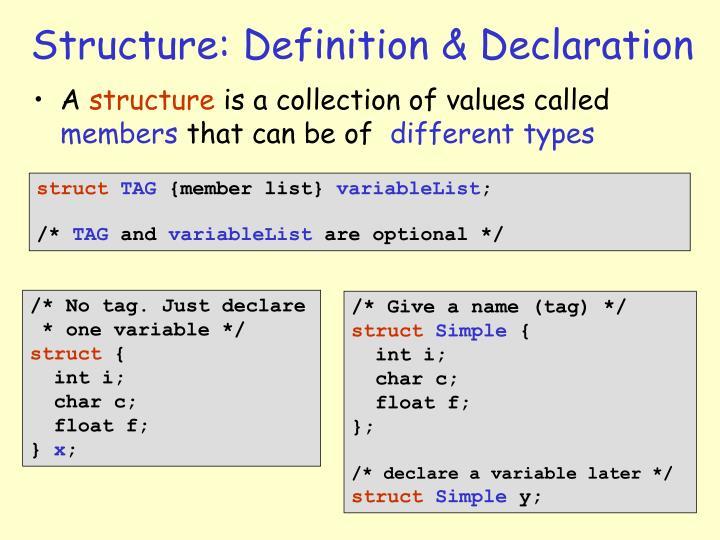 Structure: Definition & Declaration